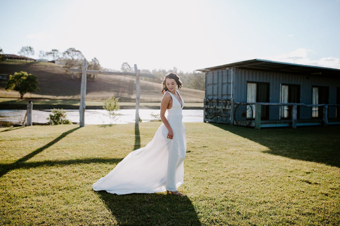 Terra Gown In Crushed Hemp - Between Me and You Bridal