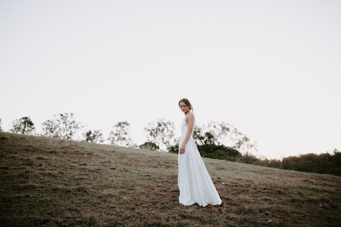 Aurora Gown In Hemp Charmeuse - Between Me and You Bridal
