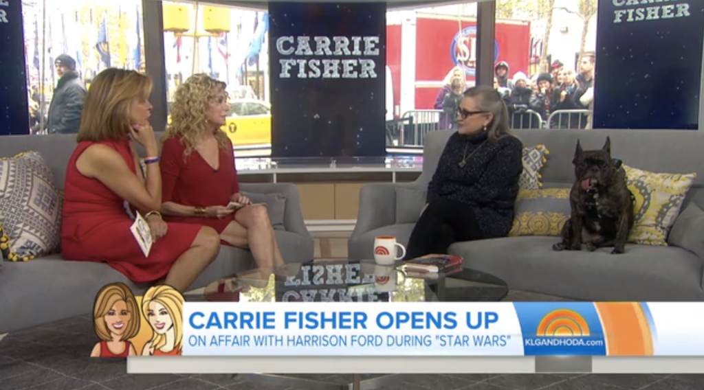 Carrie Fisher's Dog Gary Fisher Wears our Backpack on the Today Show
