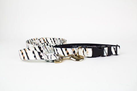 White Stripe Collar  + Leash