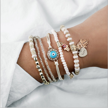 Bohemian White and Silver with gold Hamsa charms Bracelets 6pc set