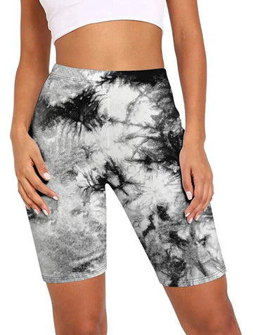 Black and White Tie Dye Leggings Shorts Women all sizes