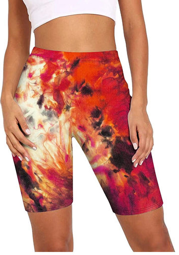 Red Tie Dye Leggings Shorts Women all sizes
