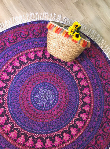 Purple Pink Round Tapestry Yantra Bohemia Boutique