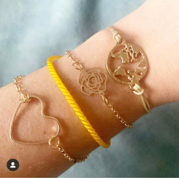 Bohemian Yellow and Gold heart bracelets 4pc set