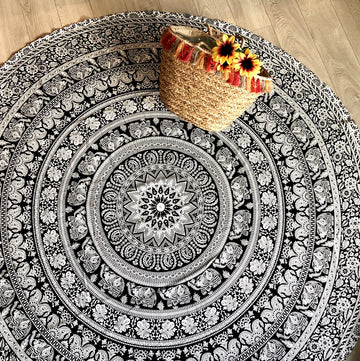 Black and White Elephant Round Mandala with Plain Trim