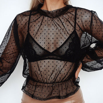Black Mesh Polka Dot Long Sleeve Top