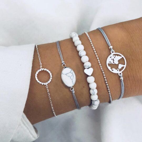 Bohemian White Bracelets 5pc set