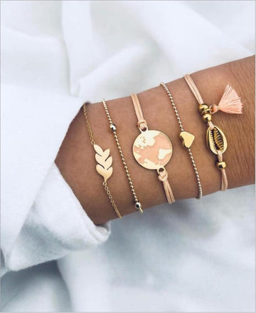 Bohemian gold and peach with tassel bracelets 5pc set