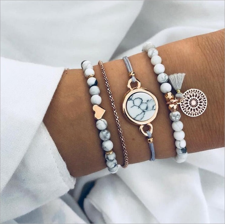 Bohemian white and gold with tassel bracelets 4 pc set