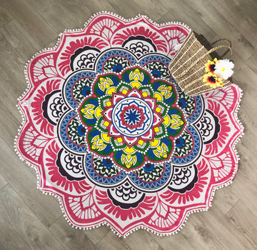 Lotus Flower Round Mandala with Pom-Poms