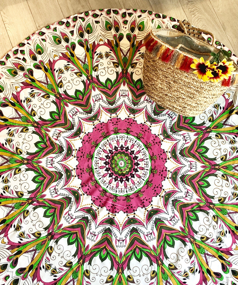 Pink Peacock Round Mandala Tapestry with Plain Trim