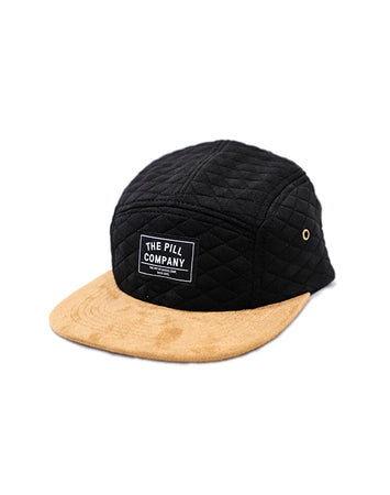 "Pill - Gorro 5 Panel ""Quilted"" Black/Leather"