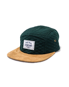 "Pill -  Gorro 5 Panel ""Quilted"" Green/Leather"
