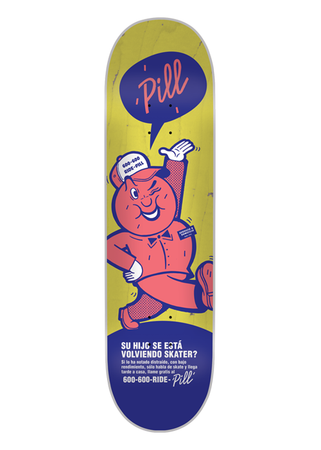 Pill – 600-600-RIDE-PILL 8.125 x 32 Blue/Yellow + lija Iron