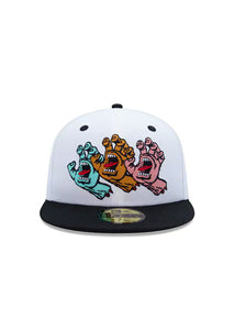 "Santa Cruz x New Era  Gorro Fitted ""screaming hand"" B/W"
