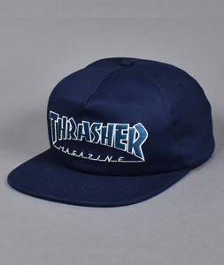 "Thrasher - Gorro Snapback ""Outlined"" Blue/Cyan (2265678807099)"