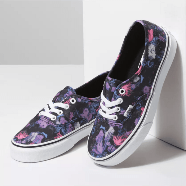 Vans - Authentic (WARPED FLORAL) BLACK/TRUE WHITE