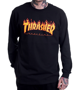 "Thrasher - Polera Manga Larga ""Flame"" Black"
