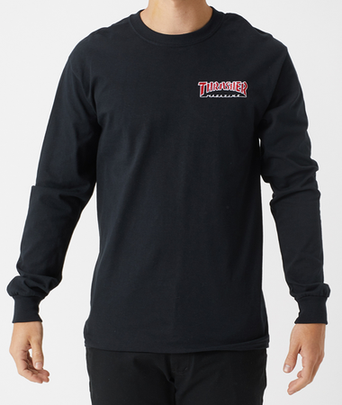 "Thrasher - Polera Manga Larga ""Embroidered Outlined"" Black"