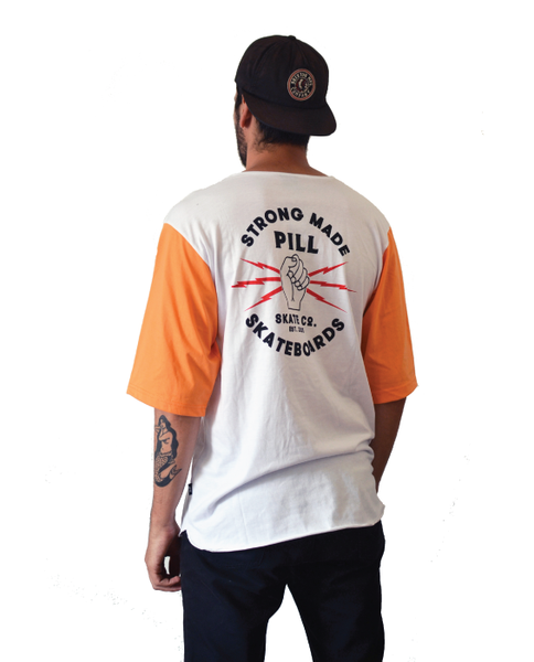 "Pill – Polera 3/4 ""Strong"" Orange/White (1489214013499)"