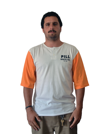 "Pill – Polera 3/4 ""Strong"" Orange/White"