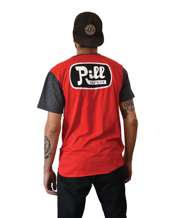 "Pill – Polera ""Oil"" Red/Charcoal"