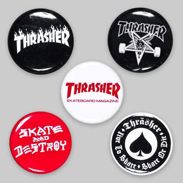 Thrasher - Pin logo buttons (Pack de 5)