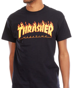 Thrasher - Polera Flame Logo Black
