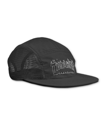 Thrasher - 5 panel flame outline black