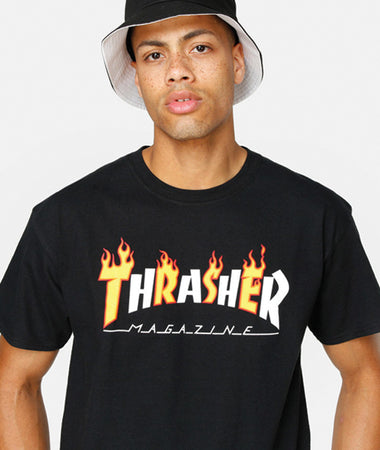 "Thrasher - Polera ""Flame Mag"" Black"