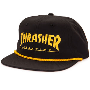 "Thrasher - Gorro Snapback ""Logo Rope"" Black/Yellow (2036855308347)"
