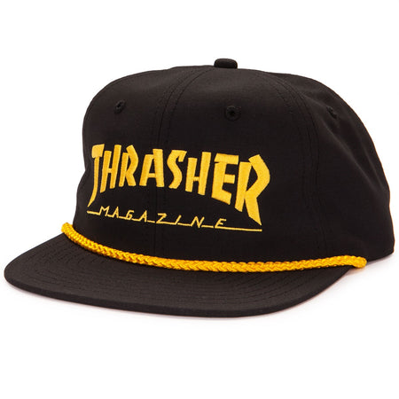 "Thrasher - Gorro Snapback ""Logo Rope"" Black/Yellow"