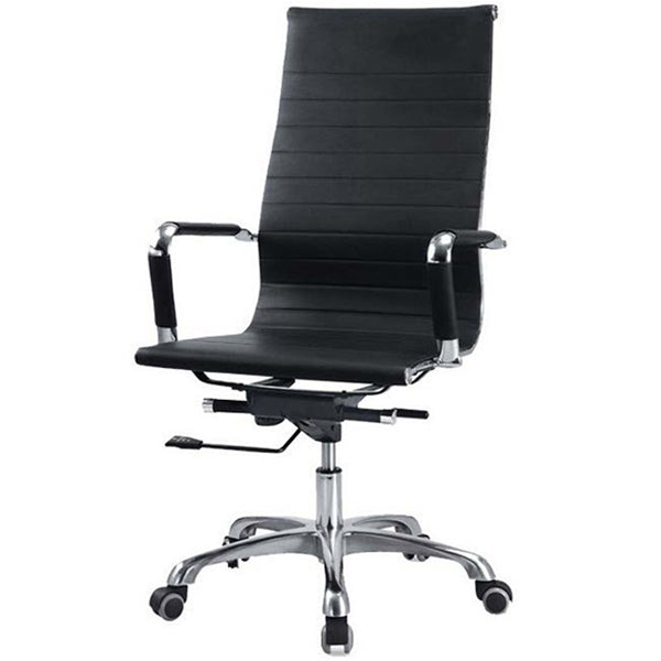 Sleek Black Rexine HB Chair Chairs - makemychairs