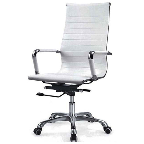 Sleek White Rexine HB Chair Chairs - makemychairs