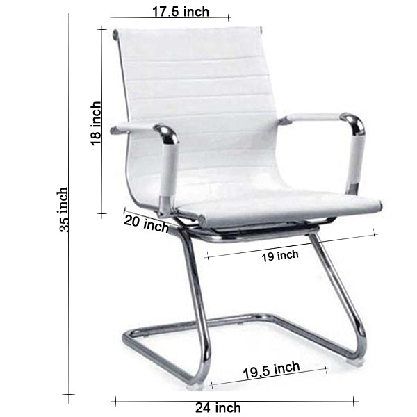 Sleek White Rexine Visitor Chairs - makemychairs