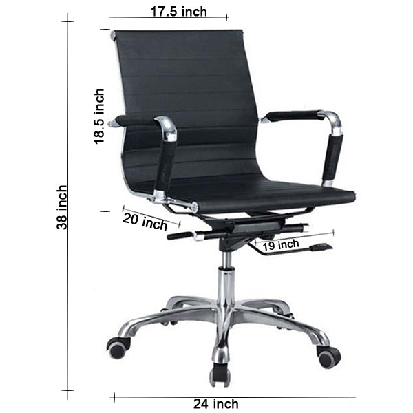 Sleek Black Rexine MB Chair Chairs - makemychairs