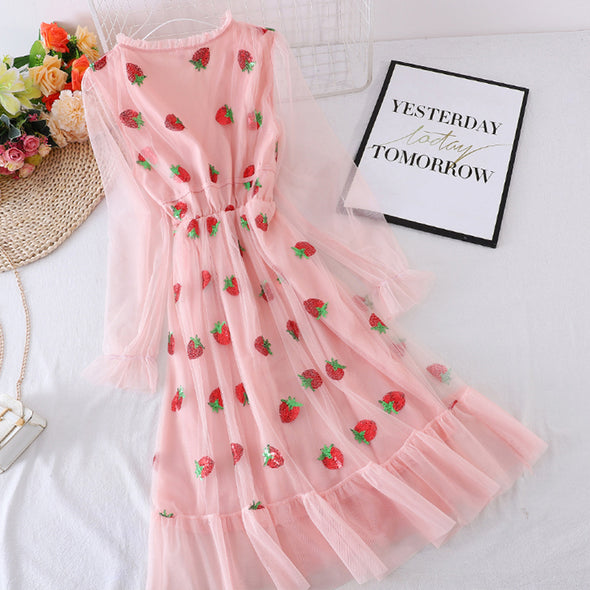 Mesh Strawberry Sequined Midi Dress