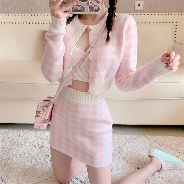 Soft Suit Sweet Three Piece Tank Top + Sweater + Skirt
