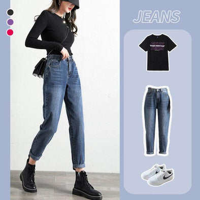 High Waist Loose Rolled Jeans