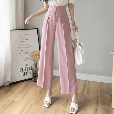 High Waist Zip Wide-Leg Straight Pants