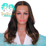 18 Inch Loose Curl Wig With Light Brown Highlights