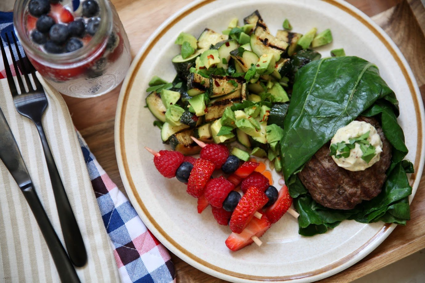 Burgers Wrapped in Swiss Chard with Zucchini Salad & Fruit Kabobs