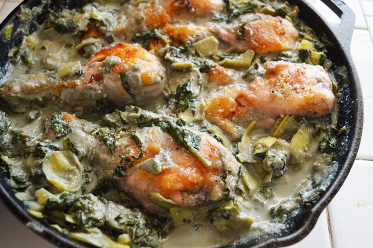 Creamy Spinach Artichoke Chicken Thighs