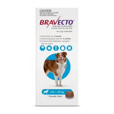 Bravecto Large Dog 20-40kg Chewable Tick & Flea Tablet