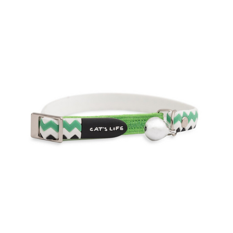 Cat's Life Green Chevron Collar