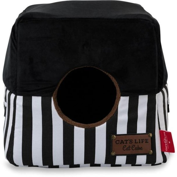 Cat's Life Black & White Stripe Cube