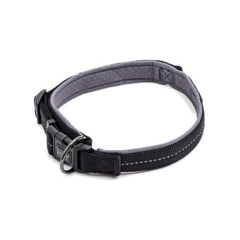 Dog's Life Black Reflective Supersoft Padded Webbing Neoprene  Collar