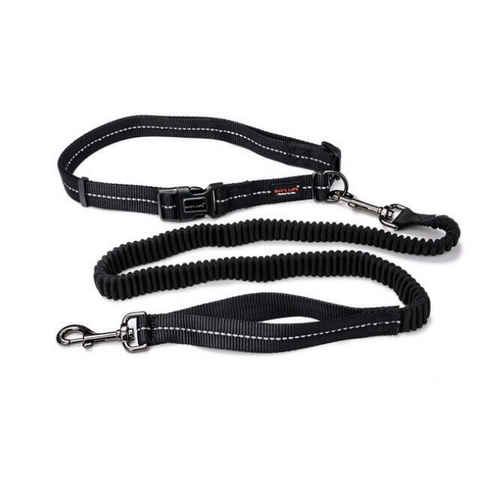 Dog's Life Black Reflective Supersoft Webbing Bungee Running Leash