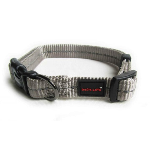 Dog's Life Grey Reflective Supersoft Webbing Collar